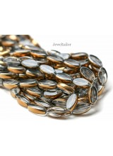 NEW! 1 Strand Of Rustic Gold And Clear Oval Electroplate Glass Beads 20mm