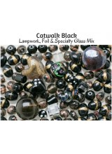 NEW! Catwalk Black Just Lampwork, Foil & Fancy Glass Bead Mix ~ Ideal For Unique Creations