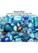 NEW! Ocean Blue Just Lampwork, Foil & Fancy Glass Bead Mix ~ Ideal For Unique Creations