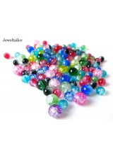 100+ Vibrant Mixed Round Crackle Glass Beads 6-8mm With High Sheen Finish ~  Jewellery Making Essentials