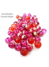 50-150g Stylish Turkish Delight Red Mixed Glass Beads 8mm With 10 FREE Silver Plated Flower Bonus Beads