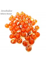 50-150g Stylish Sahara Sunset Mixed Glass Beads 8mm With 10 FREE Silver Plated Embossed Bonus Beads
