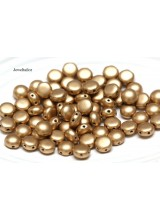 NEW! 25 Preciosa Matt Metallic Gold  2 Hole Czech Candy Beads 8mm ~ For Bead Stitching, Multi Strand & Embroidery Designs