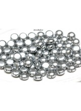 NEW! 25 Preciosa Matt Metallic Silver  2 Hole Czech Candy Beads 8mm ~ For Bead Stitching, Multi Strand & Embroidery Designs