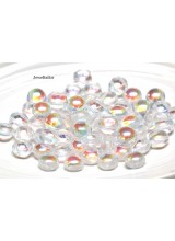 NEW! 25 Preciosa Clear Crystal AB 2 Hole Czech Candy Beads 8mm ~ For Bead Stitching, Multi Strand & Embroidery Designs
