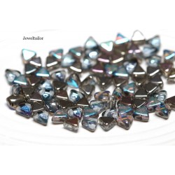 NEW! 50 Crystal AB Graphite Rainbow Kheops Par Puca 2 Hole Beads 6mm ~ For Bead Stitching, Multi Strand & Embroidery Designs