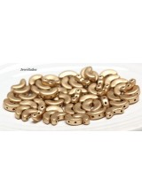 NEW! 25 Matt Metallic Gold Arcos Par Puca 3 Hole Beads 10x5mm ~ For Bead Stitching, Multi Strand & Embroidery Designs