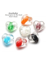 NEW! 10 Mixed Heart Shaped Glow In The Dark Lampwork Glass Beads 16mm ~ Stylish Jewellery Making