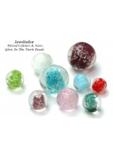 NEW! 10 Mixed Glow In The Dark Round Lampwork Glass Beads 8-16mm ~ Stylish Jewellery Making