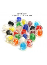 50 Glow In The Dark Beads Glass Round Jewelry Lampwork 8mm 10mm 12mm Mixed Color