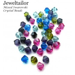 NEW! 20-60 Hand-Mixed Sparkling Swarovski Crystal (5328) Xilion Bicone Beads 4mm  ~ May Include Popular Colours Crystal AB, Peridot, Jet, Rose etc