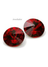 NEW! 2 Swarovski Crystal (1122) Scarlet Foiled Rivoli Stones 12mm ~ Ideal For Frames & Embellishments
