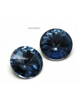 NEW! 2 Swarovski Crystal (1122) Denim Blue Foiled Rivoli Stones 12mm ~ Ideal For Frames & Embellishments