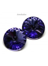 NEW! 2 Swarovski Crystal (1122) Tanzanite Foiled Rivoli Stones 12mm ~ Ideal For Frames & Embellishments