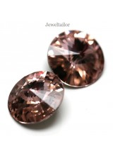 NEW! 2 Swarovski Crystal (1122) Vintage Rose Gold Foiled Rivoli Stones 12mm ~ Ideal For Frames & Embellishments