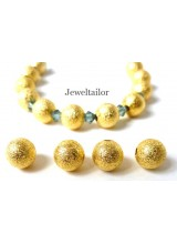 100 Glitzy Gold 22 Carat Plated Quality Stardust beads 4mm ~ Jewellery Making Essentials