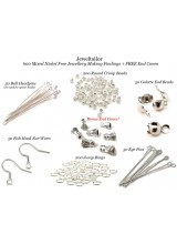 NEW! 600 Mixed Nickel Free Silver Plated Jewellery Making Findings + FREE Bonus End Cones ~Ear Wires, Ball Head Pins, Crimp Beads, Eye Pins, Jump Rings + More