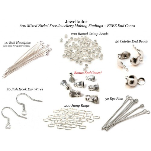 New 600 Mixed Nickel Free Silver Plated Jewellery Making Findings
