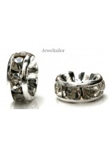NEW! 20 Silver Plated Nickel Free Rhinestone Crystal Rondelle Spacer Beads 8mm