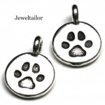 NEW! 1 TierraCast Antique Silver Dog Paw Charm Bead 16mm ~ Perfect For Bracelets, Necklaces & Pet Jewellery