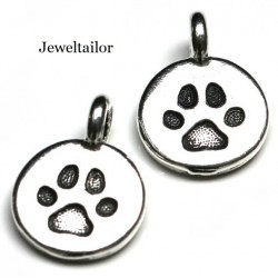 1 TierraCast Antique Silver Dog Paw Charm Bead 16mm ~ Perfect For Bracelets, Necklaces & Pet Jewellery