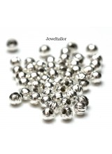NEW! 50 Silver Plated Round Large Hole Corrugated Spacer Beads 5mm ~ Stylish Jewellery Making
