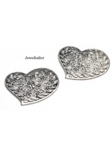NEW! 1 Large Filigree Silver Plated Heart Focal Pendant Bead 45mm - Limited Edition Designs