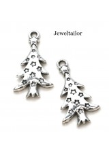 5 Silver Plated Large Christmas Tree Charm Beads 27mm Lead & Cadium Free ~ For Stylish Jewellery Making & Decorations
