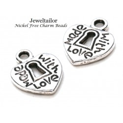 20-100 Silver Plated Made with Love Nickel Free Heart Charm Beads 12.5mm ~ For Stylish Jewellery Making