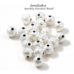 NEW! 20 Glitzy Silver Plated Round Stardust Beads 6mm ~ Ideal Spacer Beads For Jewellery Making
