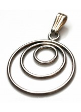 1 Sterling Silver .925 Large Triple Circle Pendant 34mm ~ Limited Editions Collection