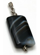 1 Sterling Silver .925 Large Botswana Agate Gemstone Pendant 47mm ~ Limited Editions Collection