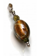 1 Sterling Silver .925 & Caramel Gold Artisan Glass Pendant 40mm ~ Limited Editions Collection