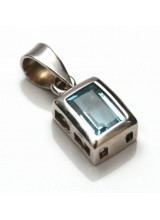 1 Sterling Silver .925 Blue Topaz Coloured Crystal Pendant 16mm ~ Limited Editions Collection