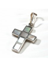 1 Sterling Silver .925 Mother of Pearl Cross Pendant 21mm ~ Limited Editions Collection