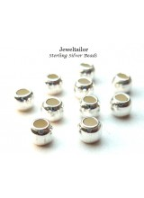 10-40 Sterling Silver .925 Large Hole Round Spacer Beads 4mm With 2mm Bead Holes ~ Fine Jewellery Making