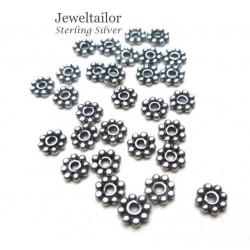 10-50 Thai Sterling Silver .925 Daisy Spacer Beads 3mm ~ Fine Jewellery Making