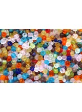 NEW! 50 Grams (1000+) Mixed Frosted Round Glass Seed Beads 4mm Size 6/0 ~ With Yellow, Orange, Blue, Pink, Green & More