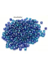 25 Grams Ocean Blue Mixed Round Glass Seed Beads 4mm Size 6/0 ~Jewellery Making Essentials