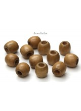 NEW! 20-100 Maple Brown Large Hole Wooden Stringing or Hair Beads 16mm With 8mm Holes ~ Lead Free For Stylish Designs