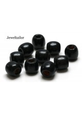 NEW! 20-100 Jet Black Large Hole Wooden Stringing or Hair Beads 16mm With 8mm  Holes ~ Lead Free For Stylish Designs