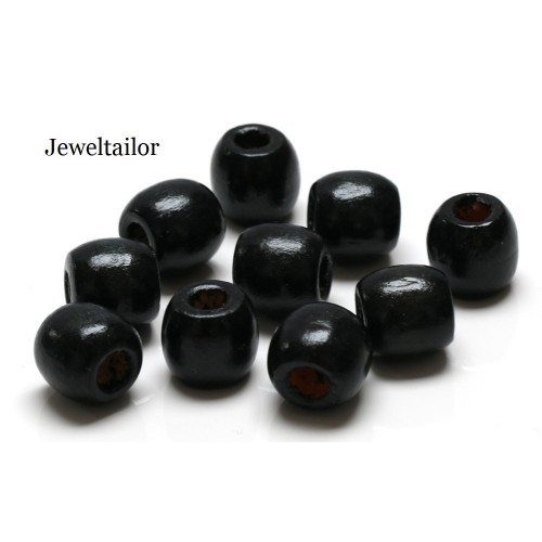 New 20 100 Jet Black Large Hole Wooden Stringing Or Hair Beads 16mm