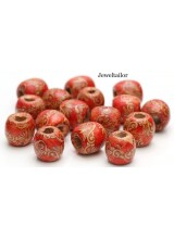 NEW! 20-100 Sunset Orange Paisley Patterned Large Hole Wooden Stringing or Hair Beads 16mm ~ Lead Free For Stylish Designs