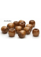 20-100 Cinnamon Brown Large Hole Wooden Stringing or Hair Beads 16mm With 8mm  Holes ~ Lead Free For Stylish Designs