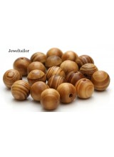 NEW! 20 Round Burly Wood Large Hole Wooden Stringing Or Hair Beads 16mm With 4mm Holes ~ Lead Free For Stylish Designs