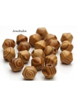 NEW! 10 Large Hole Bicone Burly Wood Wood Stringing Or Hair Beads 16mm With 5mm Holes ~ Lead Free For Stylish Designs