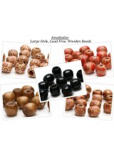 NEW! 100 Mixed Large Hole Lead Free Wooden Stringing or Hair Beads 16mm ~ 5 Styles In 1 Value Pack