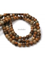 NEW! 1 Strand Of Premium Quality Round Picture Jasper Semi-Precious Gemstone Beads 8mm ~ For Fine Jewellery Making
