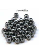 40 Round Shiny Black Hematite Semi-Precious Beads 8mm