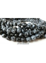 NEW! 1 Strand Of Premium Quality Round Snowflake Obsidian Semi-Precious Gemstone Beads 8mm ~ For Fine Jewellery Making